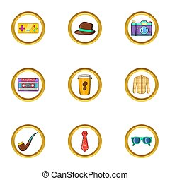 Hipster life icon set, cartoon style