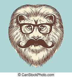 Hipster lion with eyeglasses and mustache