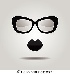 Hipster lips & sunglasses icons - Hipster lady lips and...