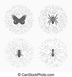 Hipster logo templates with insects