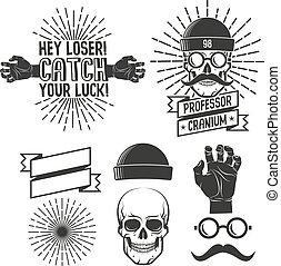 Hipster logos with skull