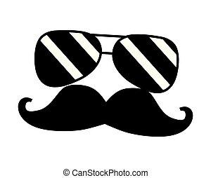 hipster, lunettes, chapeau, moustache