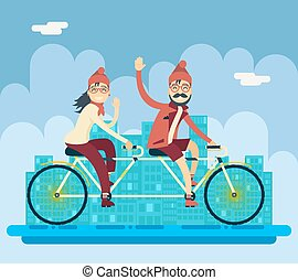 Hipster Male Female Characters Riding Companion Tandem...