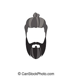 Hipster Male Hair and Facial Style With Long Beard Bun -...