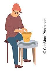 hipster, man, aardewerk vervaardiging, hobby, klei, potten