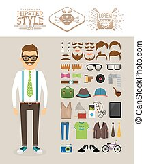 Hipster man. Accessories, hairstyles and labels