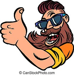 Hipster man bearded thumb up