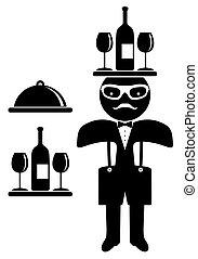 Hipster man. Bow tie. Waiter