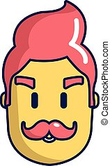Hipster man face icon, cartoon style