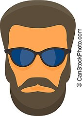 Hipster man face icon, flat style