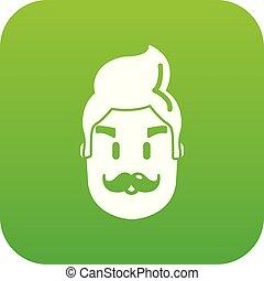 Hipster man face icon green vector