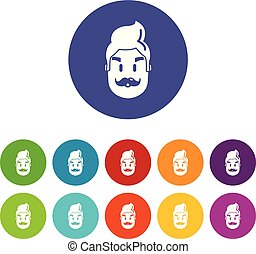Hipster man face icons set vector color