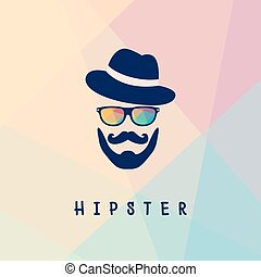 Hipster man logo - Vector illustration of glasses and a...
