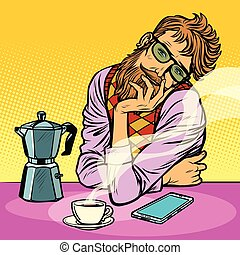 hipster man morning coffee