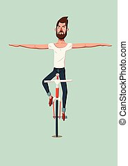 Hipster man riding a bike without holding the handlebars....