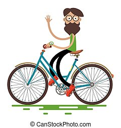 Hipster Man Riding Retro Bike Isolated on White Background. Vector Cartoon.