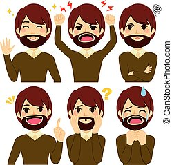 Hipster Man Set Expressions