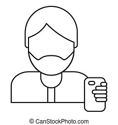 Hipster man take selfie icon, outline style