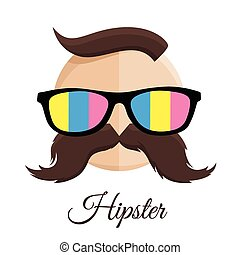 Hipster man with Glasses, Moustache