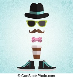 Hipster man with hat, glasses, bow, coffee paper cup, ...