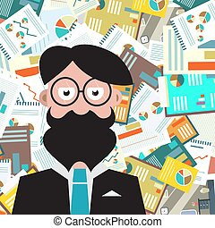 Hipster Man with Paperwork Background