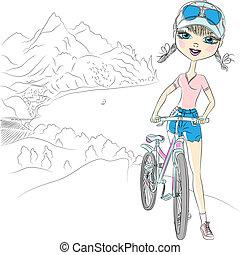 hipster, menina, vetorial, bicicleta, turista