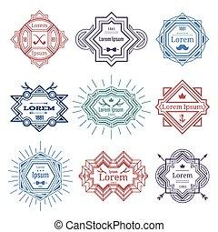 hipster, moderne, emblems