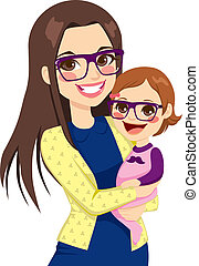 Pretty young hipster style mother with glasses holding and hugging her cute little baby daughter laughing