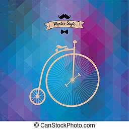 Hipster monocycle. Triangle background