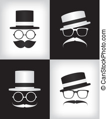 hipster, monsieur, illustration