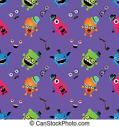 Hipster Monster Seamless Pattern