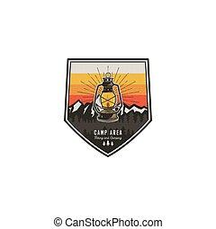 hipster, montagne, badge., camping, randonnée, explorateur, vendange, voyage, lantern., pièce, extérieur, désert, vecteur, conception, aventure, label., logo, emblem., stockage