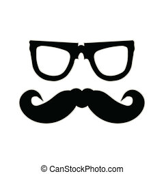 Hipster mustache and glasses. EPS10 vector background