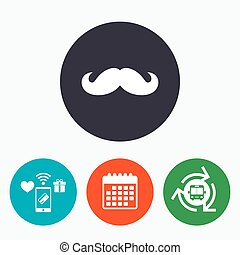 Hipster mustache sign icon. Barber symbol.