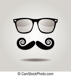 Hipster mustache & sunglasses icons - Hipster mustache and...