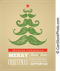 Hipster New Year and merry Christmas, vector illustration