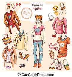 hipster, niña, ropa, conjunto