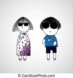 hipster, niño y niña, mano, dibujado, caricatura