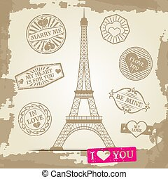 Hipster or vintage postcard background - Eiffel Tower with love prints