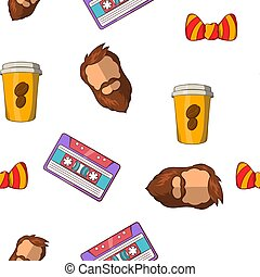 Hipster pattern, cartoon style