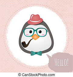 Hipster Penguin Textured Frame design illustration - Vector...