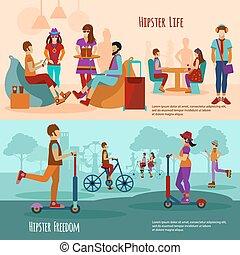 Hipster People Banner Set