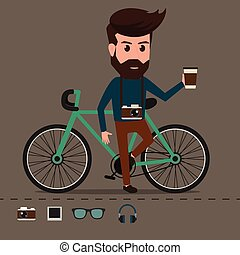 hipster, personagem, bicycle.