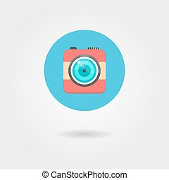 hipster photo camera icon in the circle with shadow