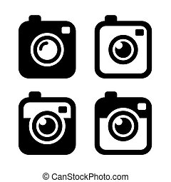 Hipster Photo or Camera Icons Set. Vector illustration