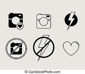 Hipster photo or video camera icon, minimalism style, flat...