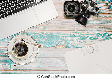 Hipster photographer and blogger workspace