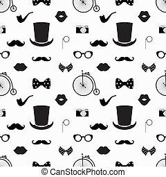 hipster, preto branco, seamless, padrão