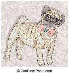 Hipster pug with glasses and bowtie. Cute puppy illustration...