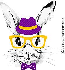 hipster, rabbit., ręka, pociągnięty, akwarela, rys, portret